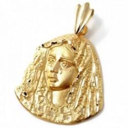 Colgante oro 18k silueta 34mm. Virgen de la Macarena maciza detalles tallados