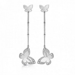Pendientes Guess Jewellery Love Butterfly UBE78016 acero inoxidable quirúrgico chapados rodio largos