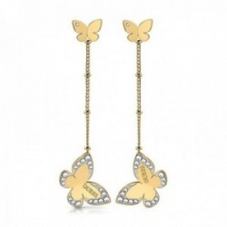 Pendientes Guess Jewellery Love Butterfly UBE78017 acero inoxidable chapados oro largos