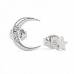 Pendientes Guess Get Lucky UBE29009 acero inoxidable chapado rodio luna estrella cristales Swarovski