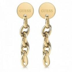 Pendientes Guess Chain Reaction UBE29035 acero inoxidable chapado oro largos cadena