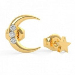 Pendientes Guess Get Lucky UBE29010 acero inoxidable chapado oro luna estrella cristales Swarovski