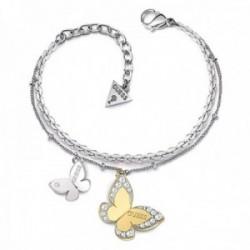 Pulsera Guess Jewellery Love Butterfly UBB78056-S acero inoxidable quirúrgico bicolor baño rodio oro