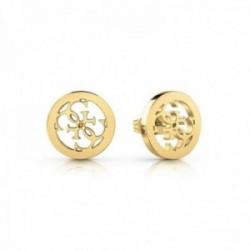 Pendientes Guess Jewellery Tropicl Sun UBE78008 acero inoxidable chapado oro logo calado