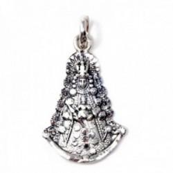 Colgante plata Ley 925m Virgen del Rocío macizo mate detalles tallados brillo