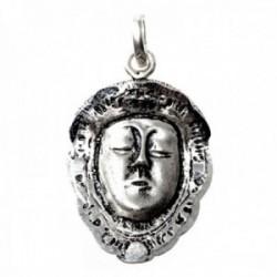 Colgante plata Ley 925m rostro 28mm. macizo Virgen del Rocío mate detalles tallados brillo