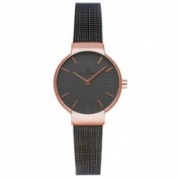 Reloj Radiant mujer RA528601 Elsa negro malla milanesa detalles rosados