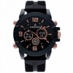 Reloj Radiant hombre RA535702 Owen analógico digital detalles rosados caja efecto fibra carbono