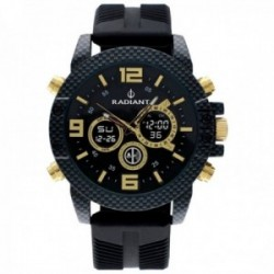 Reloj Radiant hombre RA535703 Owen analógico digital detalles dorados caja efecto fibra carbono