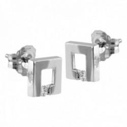 Pendientes Oro Blanco 18k modelo Viena (2 diamantes 2,00mm. 0,03 cts.) Medida: 7mm.