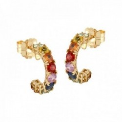 Pendientes Oro Amarillo 18k modelo Cachemira (18 multizafiros color carre. 3,00mm. 2,42 cts.)
