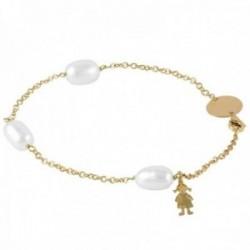 Pulsera Oro Amarillo 18k modelo Bracelets (3 perlas cultivadas perilla 9×10,5mm.) Medida:18cm.