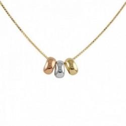 Collar (43cm.) Oro Amarillo, Blanco y Rosa. 18k modelo Circles Colgante:8mm. Cadena:42cm.