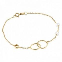 Pulsera Oro Amarillo 18k modelo Bracelets (2 Perlas Cultivadas 4,5mm.) Medida: 18cm.