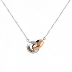 Collar Oro Blanco y Oro Rosa 18k modelo Circles Colgante:14x10mm. Cadena:43cm.