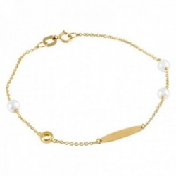 Pulsera Oro Amarillo 18k modelo Bracelets (3 Perlas Cultivadas 4,5mm.) Medida: 18cm.