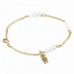 Pulsera Oro Amarillo 18k modelo Bracelets (9 Perlas esfericas 4mm.) Medida: 18cm.