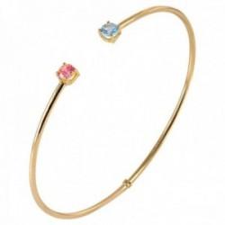 Pulsera Oro Amarillo 18k modelo Bracelets (1 topacio azul 1 rosa 4mm.) Medida:60x50x2mm.