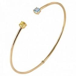 Pulsera Oro Amarillo 18k modelo Bracelets (1 topacio azul citrino 4mm.) Medida:60x50x2mm.
