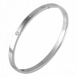 Pulsera Oro Blanco 18k modelo Bracelets Maciza. Medida:60x50x5mm.