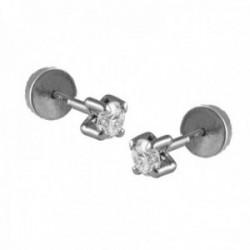 Pendientes Oro Blanco 18k modelo Garritas (2 Diamantes 2mm. 0,08cts.) Medida: 2mm. (Abridor punta)