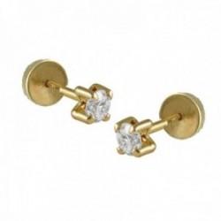 Pendientes Oro Amarillo 18k modelo Garritas (2 Diamantes 2mm. 0,08cts.) Medida: 2mm. (Abridor punta)