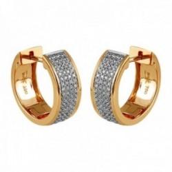 Pendientes Oro Amarillo 18k modelo Viena (152 diamantes. 0,40 cts.) Medida: 10,4×5,6x1mm.