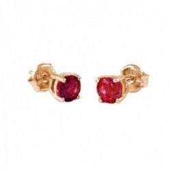 Pendientes Oro Rosa 18k modelo Garritas Color (2 rubies 5mm. 1,16cts.) Medida: 5mm.