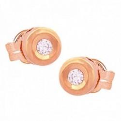 Pendientes Oro Rosa 18k modelo Tu Diamante (2 Diamantes 2mm. 0,08cts.) Medida: 4,65mm.