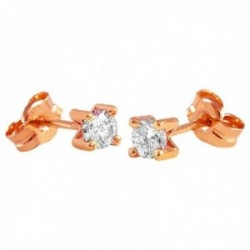 Pendientes Oro Rosa 18k modelo Garritas (2 Diamantes 3,10mm. 0,22cts.) Medida: 3,10mm.