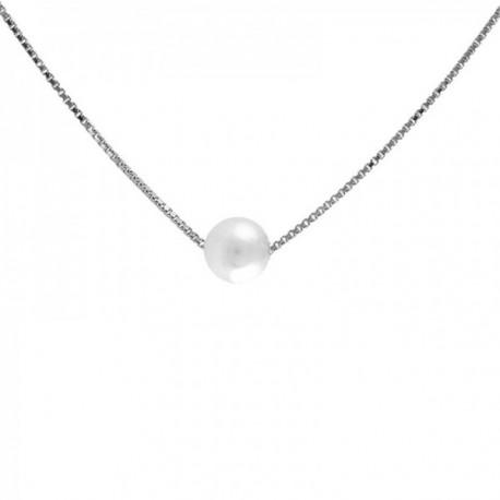 Colgante con cadena Oro Blanco 18k modelo Circles (1 perla veneciana de 6mm.) Cadena:43cm.