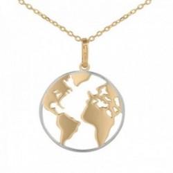 Colgante con cadena Oro Amarillo y Blanco 18k modelo Circles Colgante: 17,5mm. Cadena: 45cm.