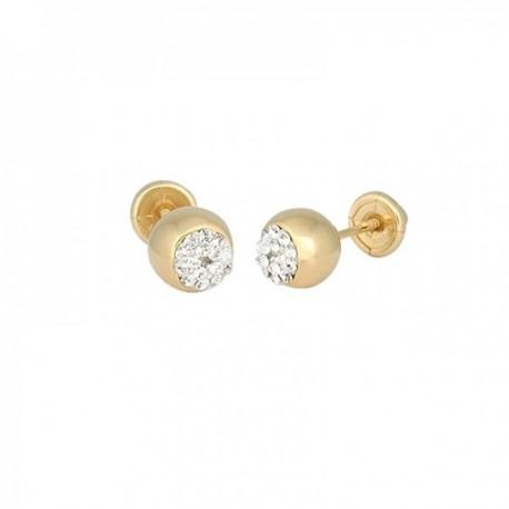 Pendientes Oro Amarillo 18k modelo Aretes de Bebé (bola 6mm.) (resina circonitas) Medida: 6mm.