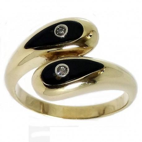 Sortija oro 18k diamantes brillantes esmalte negro [492S]