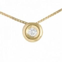 Colgante Oro Amarillo 18k modelo Tu Diamante (1 diamante 3,40mm. 0,17 cts.) Cadena: 43cm.