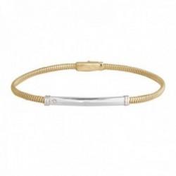 Pulsera Oro Amarillo y Blanco 18k modelo Bracelets (1 diamante 1,20mm. 0,008cts.).