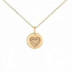 Colgante con cadena Oro Amarillo 18k modelo Circles (14 diamantes 0,042cts.). Colgante:9mm.