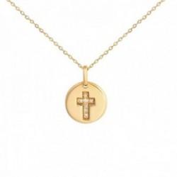 Colgante con cadena Oro Amarillo 18k modelo Circles (7 diamantes 0,021cts) Colgante:9mm. Cadena:44cm