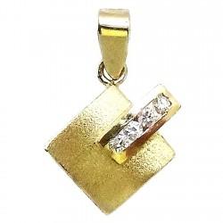 Colgante oro 18k brillo mate circonitas [506T]