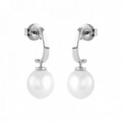 Pendientes Oro Blanco 18k modelo Daniela (2 perlas cultivadas perilla 10x11mm.) Medida: 25,5x10mm.
