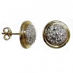 Pendientes oro 18k bicolor 3 puntas brillantes diamantes [532P]