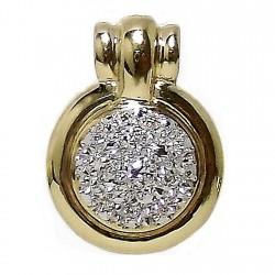 Colgante oro 18k bicolor 3 puntas brillantes diamantes [532T]