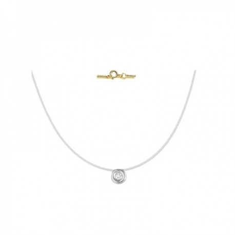 Collar de sedal con terminaciones Oro amarillo y chatón oro blanco 18k modelo Tu Diamante