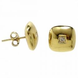 Pendiente oro 18k brillante diamante cierre presión [534P]