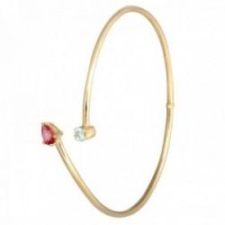 Pulsera Oro Amarillo 18k modelo Bracelets (1 Topacio Rosa pera 6x4mm.) (1 Topacio azul 3,50mm.)