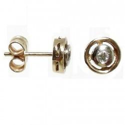 Pendientes oro 18k bicolor diamante brillante cierre presión [564P]