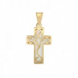 Cruz Oro Amarillo 18k modelo Cruces (1 madreperla). Medidas: 17,5X11,7mm.