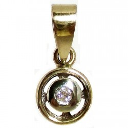 Colgante oro 18k bicolor diamante brillante [564T]