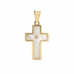 Cruz Oro Amarillo 18k modelo Cruces (1 diamante 1,20mm. 0,008cts.) (madreperla). Medidas 18x12mm.
