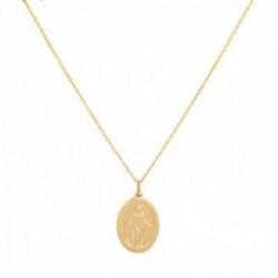 Colgante con cadena Oro Amarillo 18k modelo Circles (Virgen Milagrosa) Medidas colgante: 16x12mm.